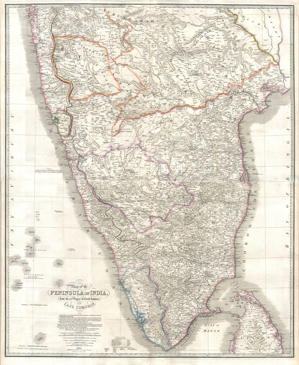 Map of the Peninsula of India, from the 19th. Degree of North Latitude, to Cape Cormorin.