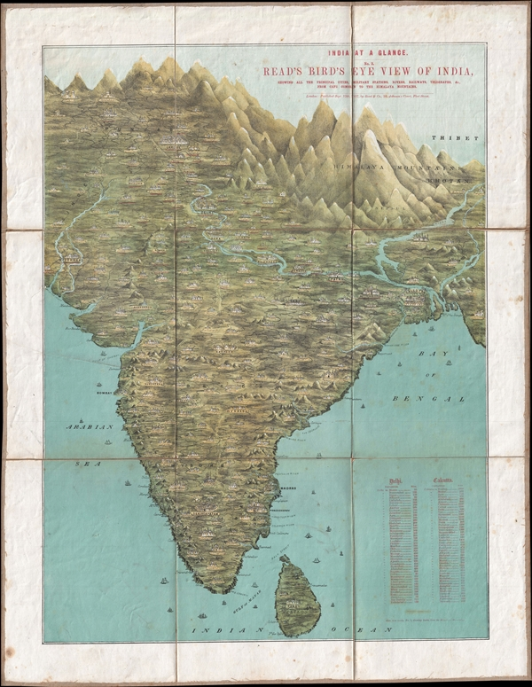 India at a Glance. No. 2. Read's Birds' Eye View of India, showing all the principal cities, Military Stations, Rivers, Railways, Telegraphs, &C. From Cape Comorin to the Himalaya Mountains.