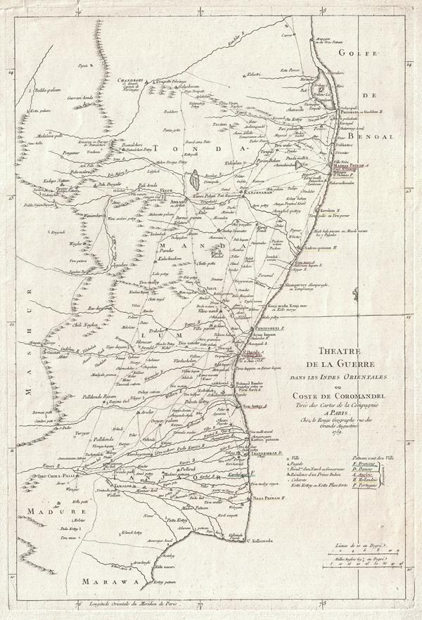 <i>Theatre de la Guerre Dans Les Indes Orientales ou Coste de Coromandel Tiree des Cartes de la Compagnie a Paris…</i>
