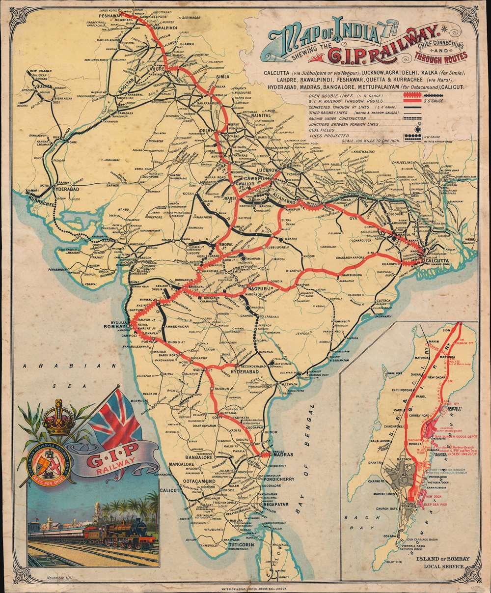 1711 Waterlow / GIP Railway Map of India w/ Bombay