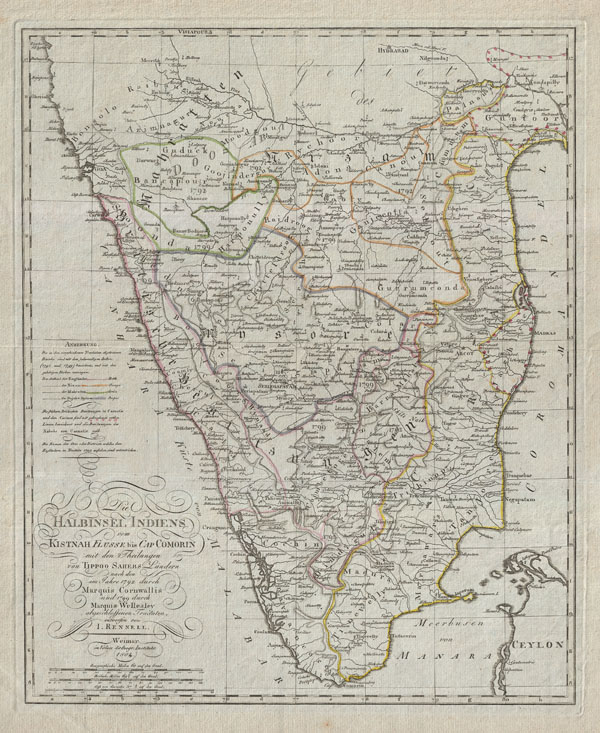 1804 German Edition of the Rennel Map of India