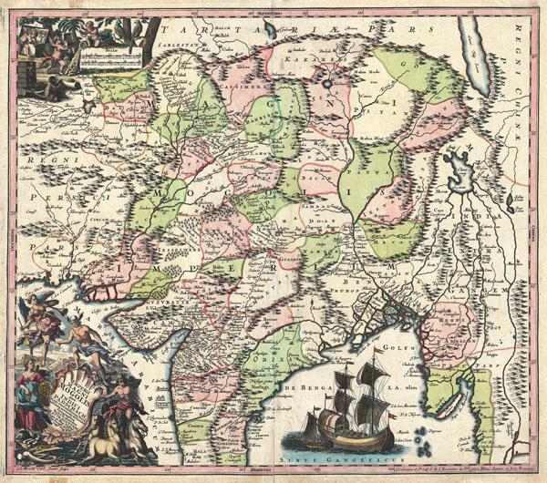 Imperii Magni Mogolis sive Indici Padschach, juxta recentiissimas Navigationes accurata delineato Geographica studio et sumtibus. - Main View