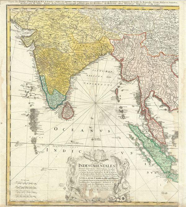 Carte des Indes orientales I. feuille, dans la quelle on represente les Indes deca la Riviere de Ganges, le Golfe de Bengale, Siam, Malacca, Sumatra dressee par Mr. de Tobie Mayer de la Societe Geograph.