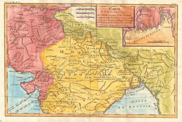 Carte de la Partie Superieure de L'Inde en Deca du Gange, Comprise entre la Cote du Concan et celle d'Orixa avec l'Empire du Mogol, le Bengale, Le Re. d'Atham, partie du ceux d'Ave et de Pegu.