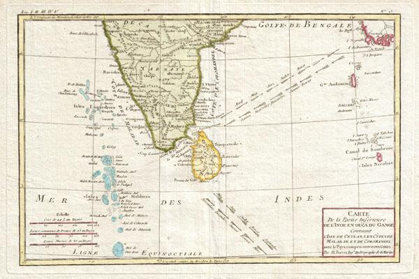 Carte De la Partie Inferieure de L'Inde en Deca du Gange Contenant L'Isle de Ceylan, Les Cotes de Malabar et de Coromandel, avec le Pays compris entre ces Cotes.