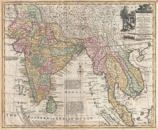 A new and accurate map of the Empire of the Great Mogul, together with India on both sides the Ganges, and the adjacent countries. Drawn from the most approved modern maps and charts: the whole being regulated by astronl. observations, by Eman: Bowen. - Main View