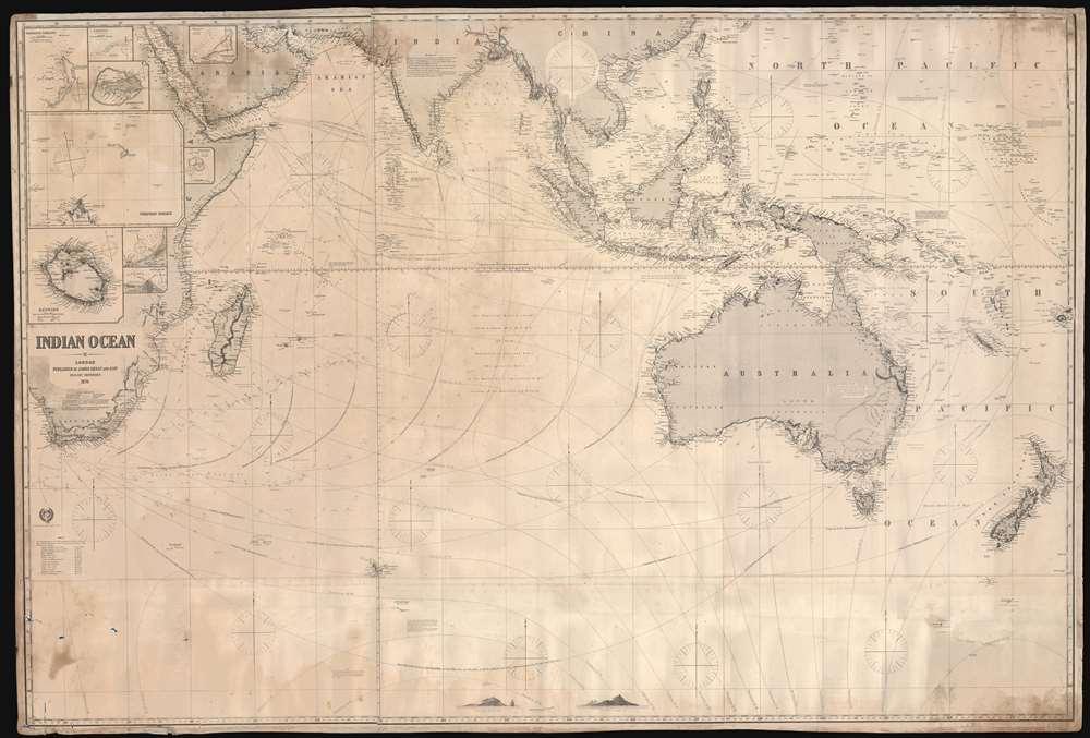 1874 Imray Blueback Nautical Chart or Maritime Map of the Indian Ocean