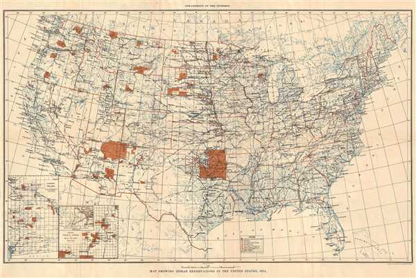 Map Showing Indian Reservations in the United States, 1915.