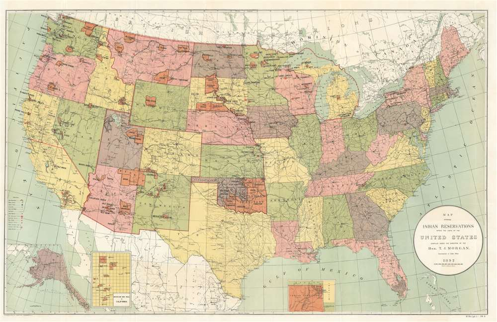 1892 Morgan Map of the United States Indian Reservations