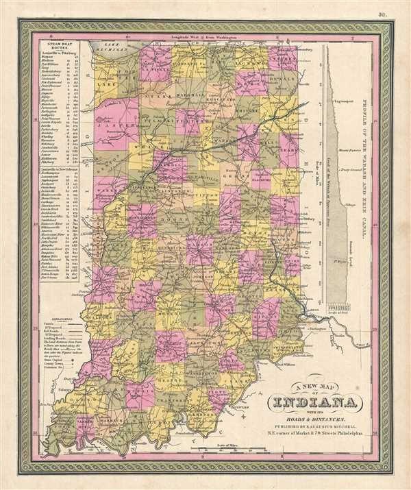 A New Map Of Indiana With Its Roads Distances Geographicus - Map of indiana