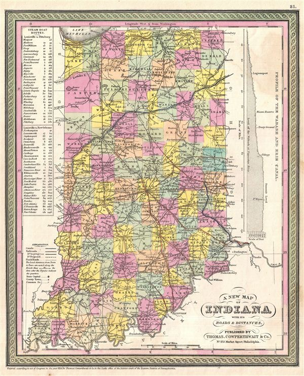 A New Map of Indiana with its Roads & Distances. - Main View