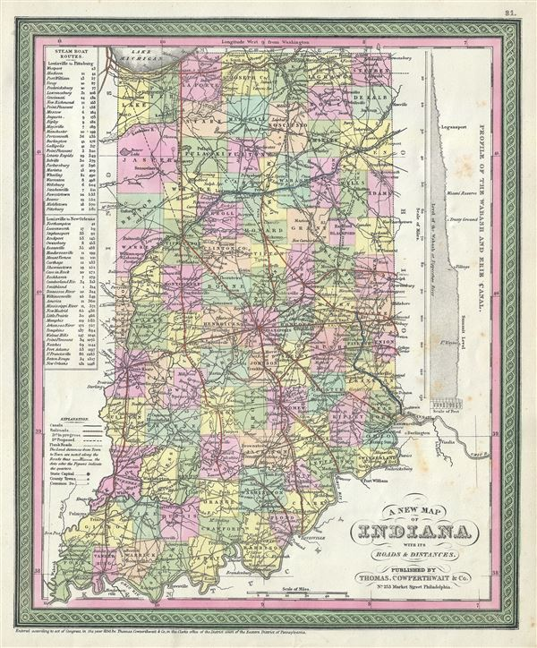 A New Map of Indiana with its Roads and Distances.