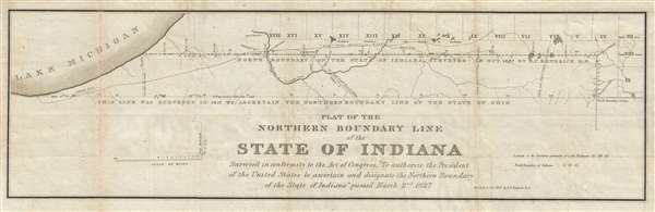 Plat of the northern boundary line of the state of Indiana : surveyed in conformity to the Act of Contress, 'To authorize the President of the United States to ascertain and designate the northern boundary of the state of Indiana: passed March 2nd, 1827.