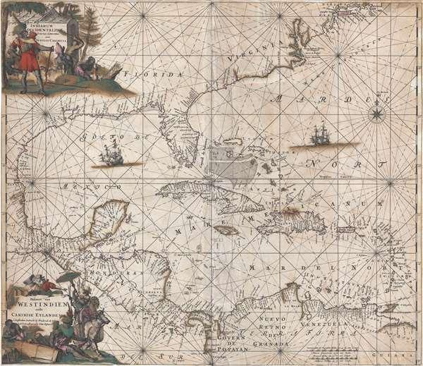 Indiarum Occidentalium Tractus Littorales cum Insulis Caribicis. / Pascaert van Westindien ende Caribise Eylanden.