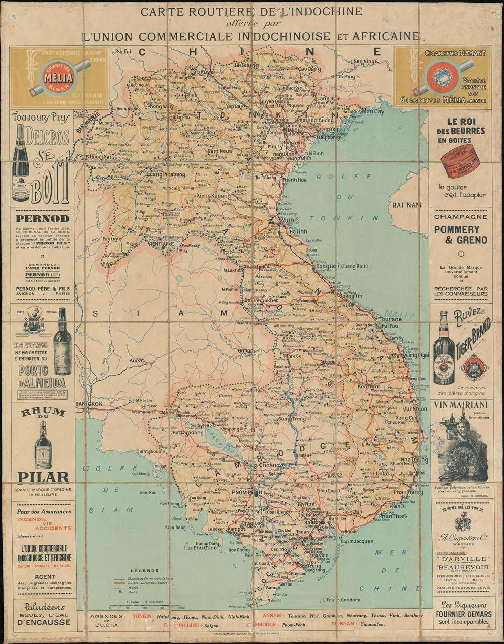 Carte Routière de L'indochine offerte par L'Union Commerciale Indochinoise et Africaine. - Main View