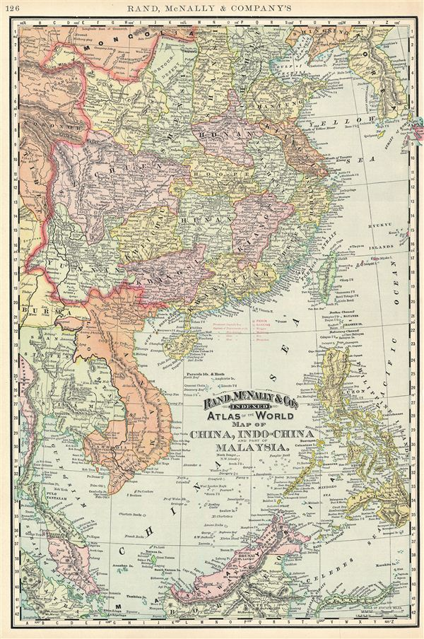Map Of China And Southeast Asia.Map Of China Indo China And Part Of Malaysia Geographicus Rare