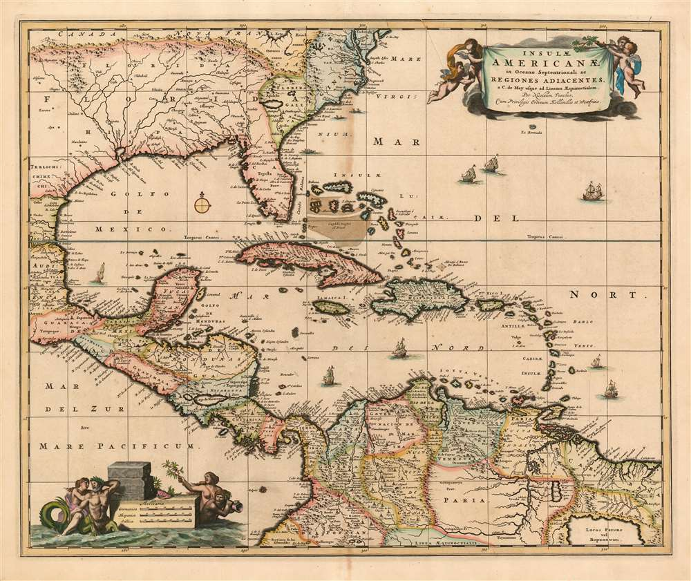 1680 Visscher Map of the Caribbean, Florida,  Central America and Terra Firma