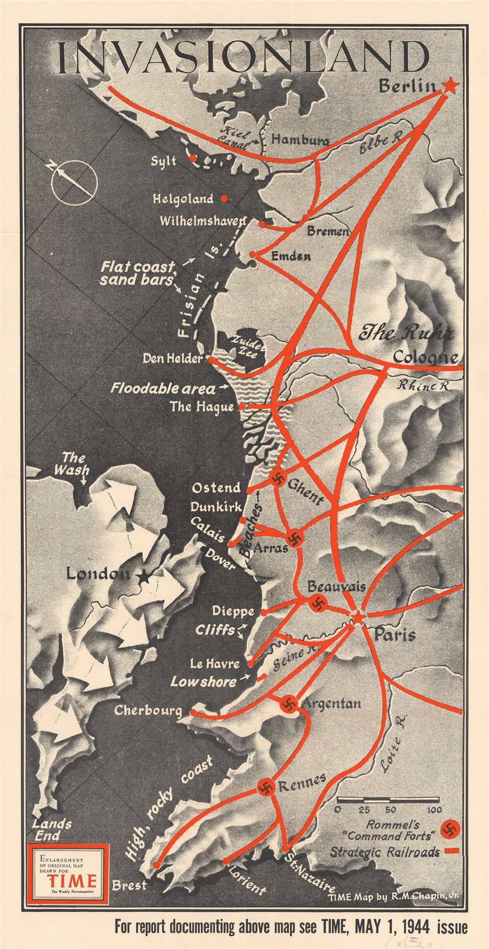 1944 Chapin Map of the Presumed Allied Invasion of 'Fortress Europe'