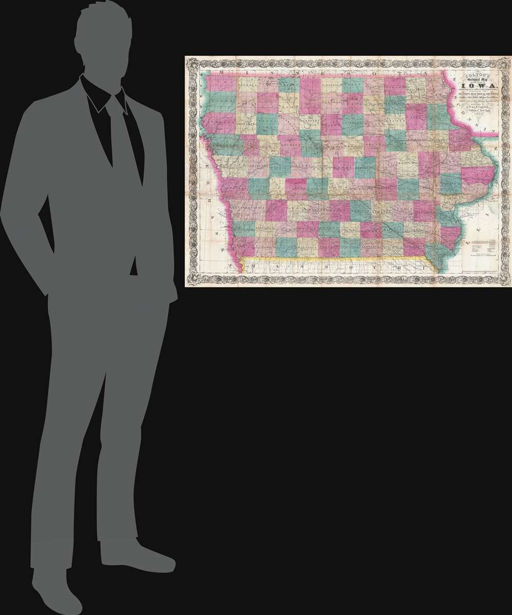 Colton's Sectional Map of the State of Iowa. Compiled from the U.S. Surveys and other Authentic Sources. Exhibiting the Sections Fractional Sections, Counties, Cities, Towns, Villages, Post Offices, Railroads and other Internal Improvements. - Alternate View 1