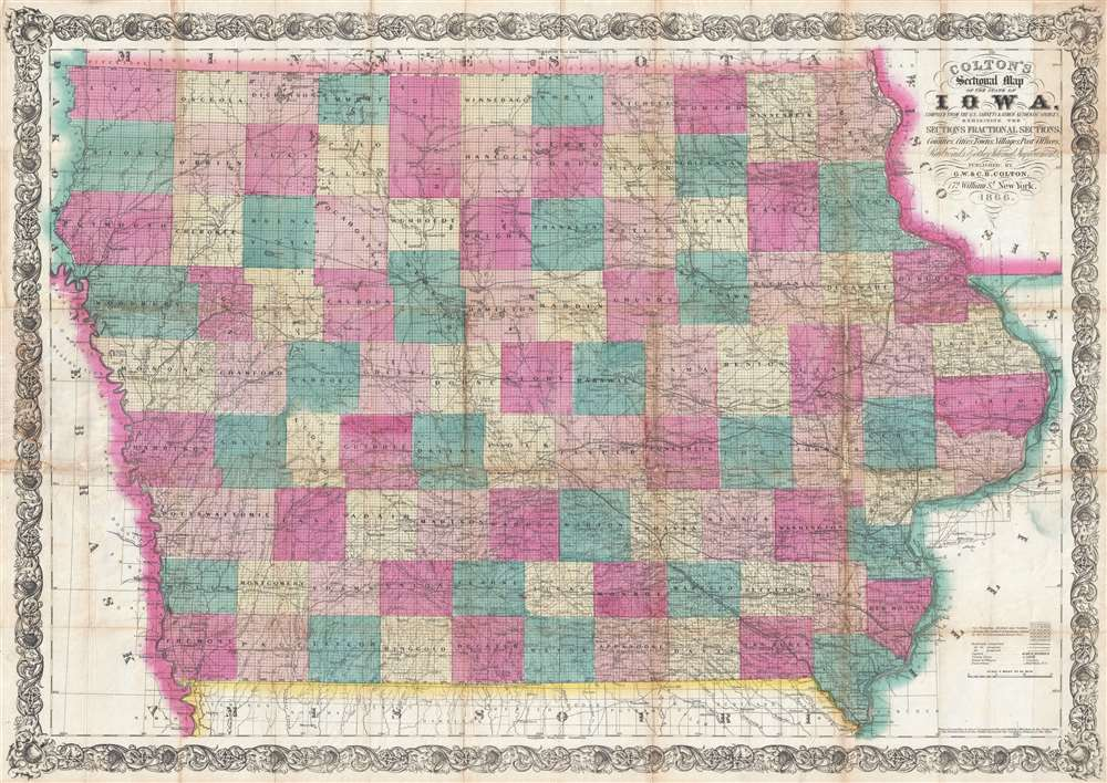 Colton's Sectional Map of the State of Iowa. Compiled from the U.S. Surveys and other Authentic Sources. Exhibiting the Sections Fractional Sections, Counties, Cities, Towns, Villages, Post Offices, Railroads and other Internal Improvements.