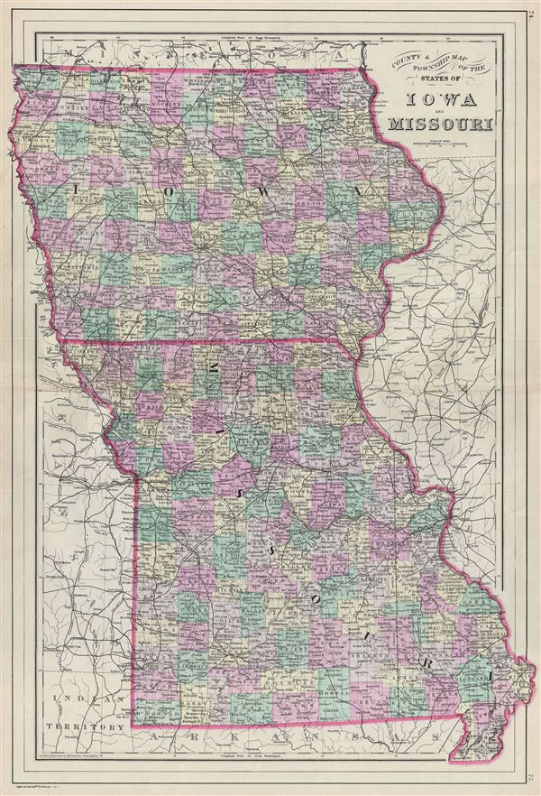 County & Township Map of the States of Iowa and Missouri.