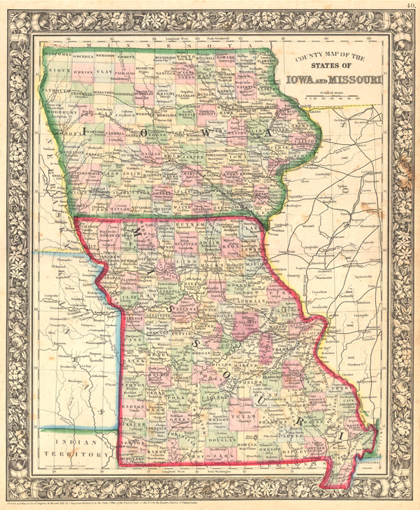 County Map of the States of Iowa and Missouri.