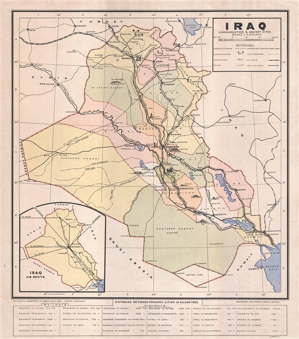 Iraq Communication and Ancient Sites : Geographicus Rare Antique Maps