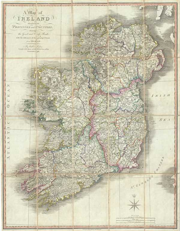 A Map of Ireland divided into Provinces and Counties, showing the Great and Cross Roads with the distances of the Principal Towns from Dublin.
