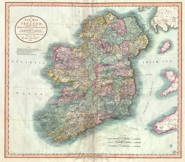 A New Map of Ireland, Divided  into its Provinces and Counties:  Also, The Opposite Coasts of Scotland and Wales; shewing the several Ports form whence the Packets depart for Ireland.