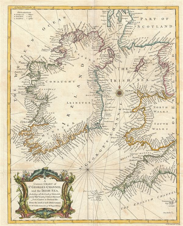 A Correct Chart of St. Georges Channel and the Irish Sea, Including all the Coast of Ireland, and ye West Coast of Great Britain from Cantire to Portland Isle: From the latest & best Observations. - Main View