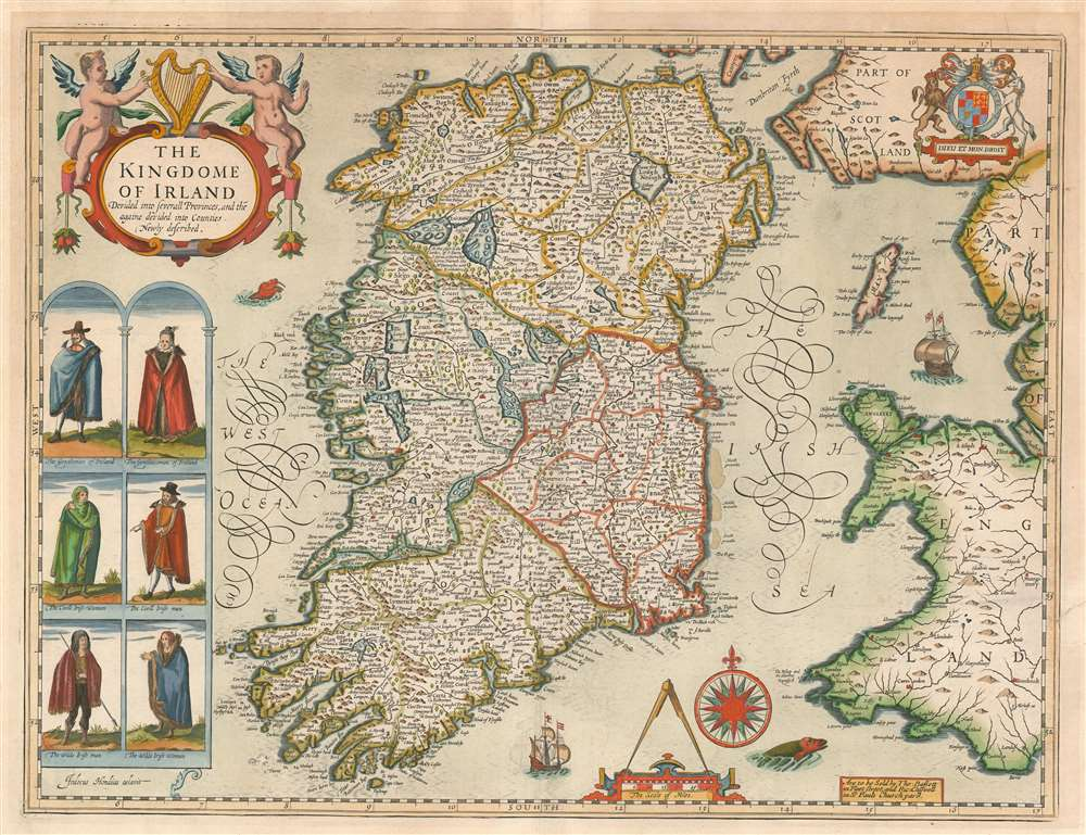 The Kingdome of Irland Devided into Severall Provinces, and thē againe devided into Counties. Newly described. - Main View
