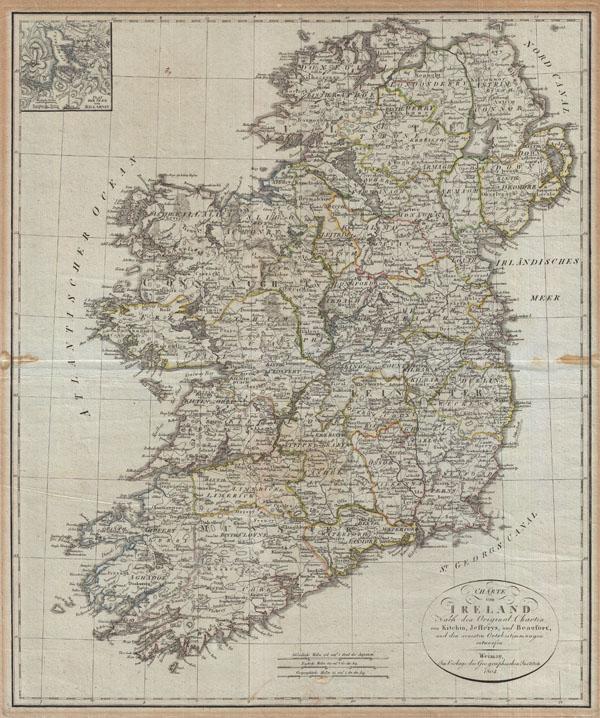 Charte von Ireland Nach den Original-Charten von Kitchin, Jefferys, und Beaufort, und den neuesten Ortsbestimmungen entworfen.
