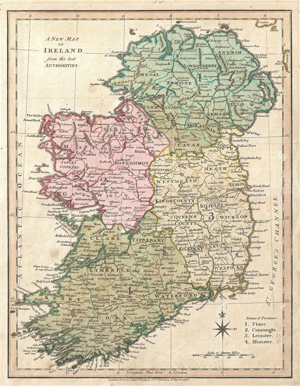 Map Of Ireland Leinster.A New Map Of Ireland From The Best Authorities Geographicus Rare