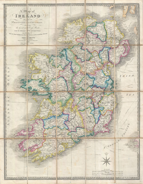 A Map of Ireland divided into Provinces and Counties shewing the Great and Cross Roads with distances of the principal Towns from Dublin.  Also the Steam Communications from  the Out Ports, and the average Time of Passage.