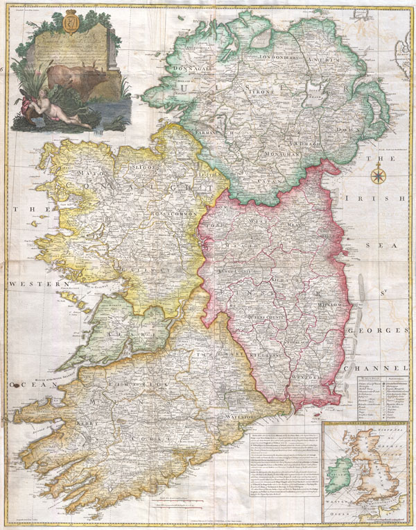 Map Of Ireland Lakes.A Map Of The Kingdom Of Ireland Divided Into Provinces Counties