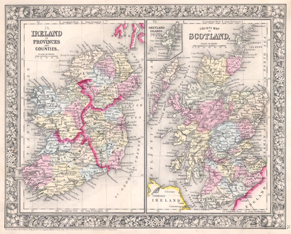 Ireland in Provinces and Counties. / County Map of Scotland.