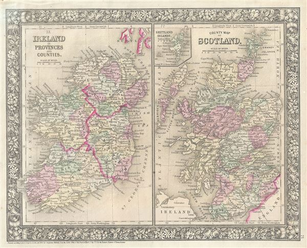 Ireland in Provinces and Counties.  County Map of Scotland. - Main View
