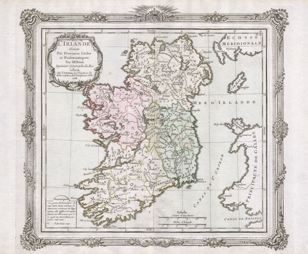 L'Irlande divisee Par Provinces Civiles et Ecclesiastiques.