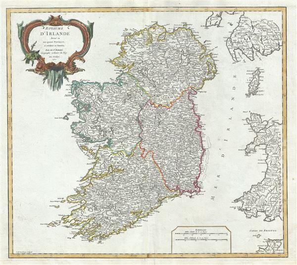 Royaume d'Irlande divise en ses quatre Provinces, et subdivise en Comtes.