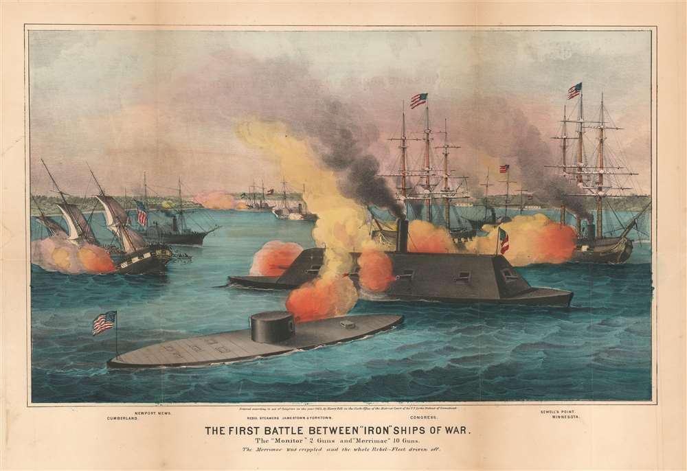 The First Battle Between 'Iron' Ships of War. - Main View
