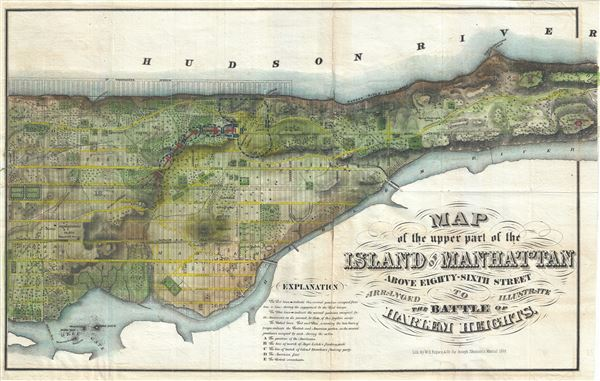 Map of the Upper Part of the Island of Manhattan above eighty-sixth street arranged to illustrate the Battle of Harlem Heights.