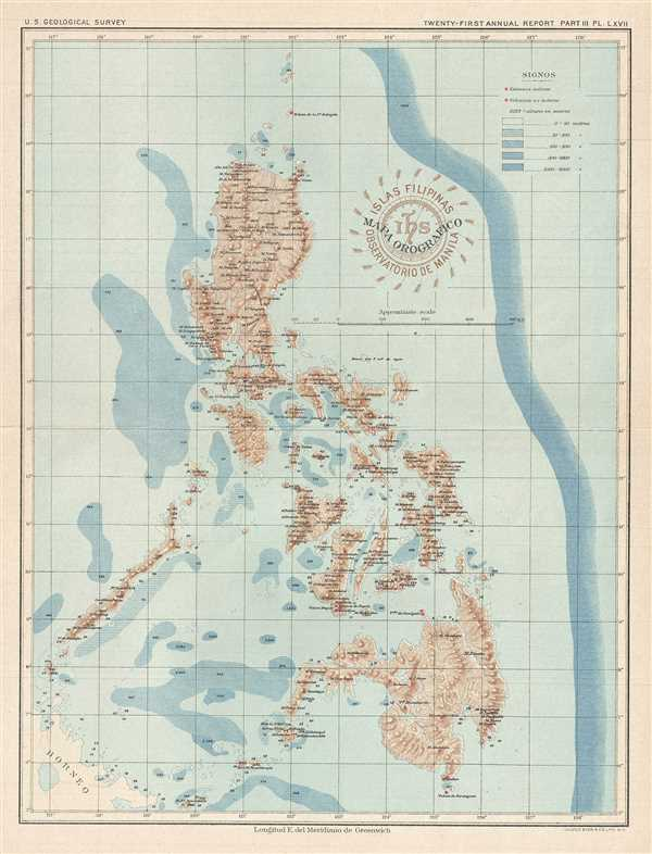 Mapa Orographico. Islas Filipinas Observatorio de Manila.