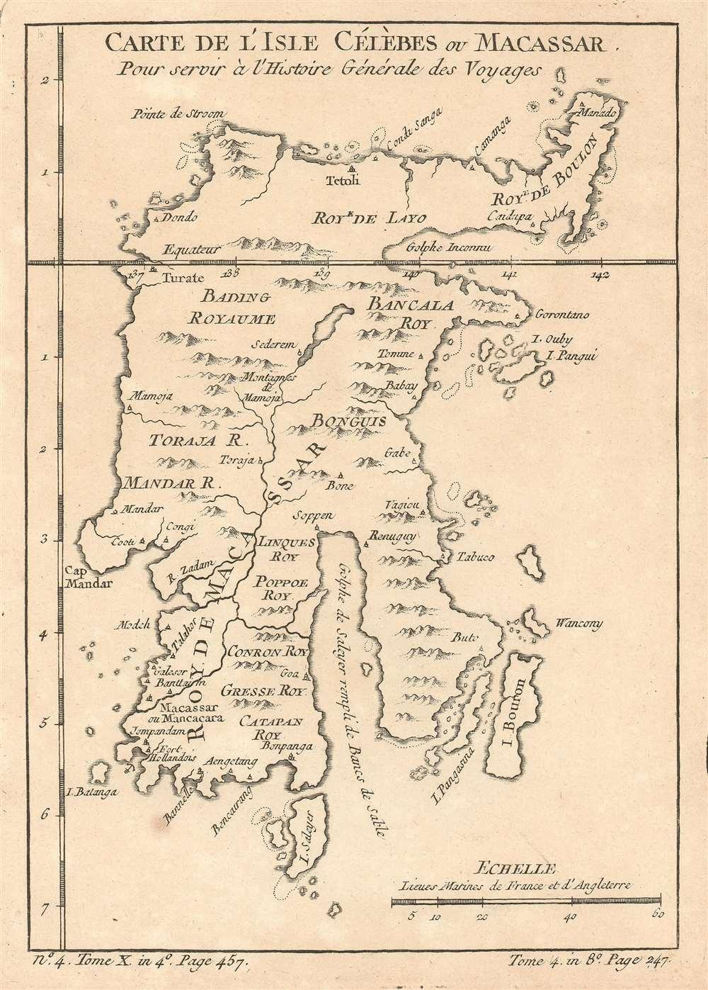 Carte De L'Isle Célèbes ou Macassar : Pour servir à l'Histoire Générale des Voyages. - Main View