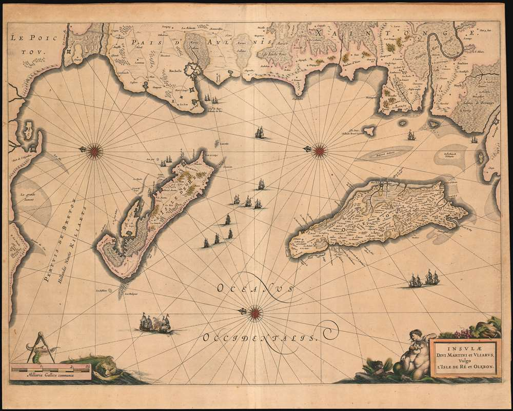 1649 Blaeu Map of the isles De Re and Oleron, France