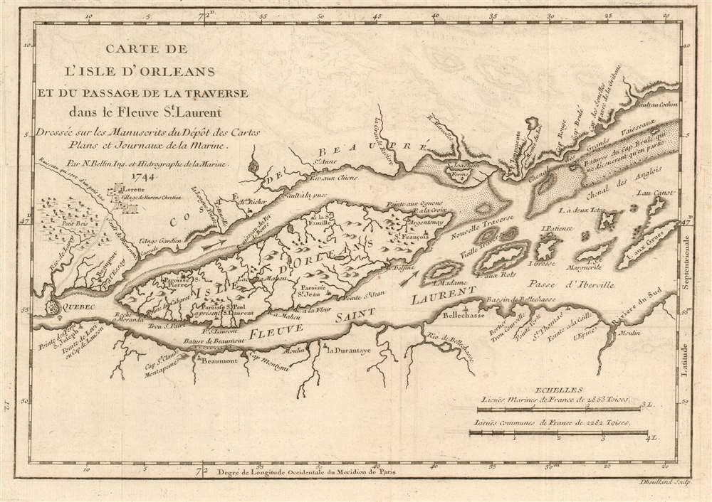 1744 Bellin Map of thel'Île-d'Orléans in the Saint Lawrence