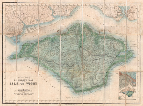 Stanford's Tourist's Map of the Isle of Wight with popular references to Fossili Ferous Localities, Antiquities, Landing Places for Boats, &c. and an Appendix showing the Island, Southampton Water, and the Adjacent Country. - Main View