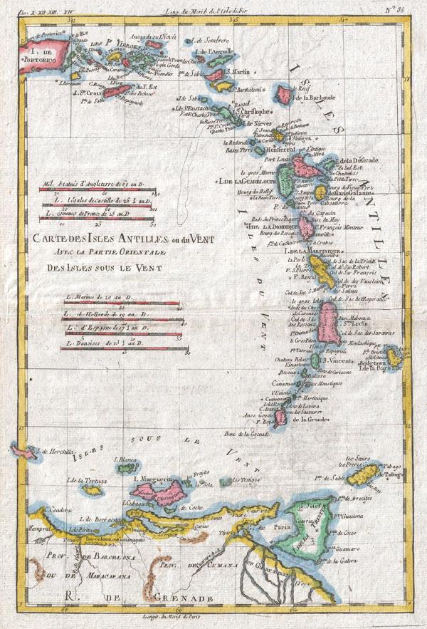 Carte Des Isles Antilles Ou Du Vent Avec La Partie Orientale Des Isles Sous Le Vent - Main View