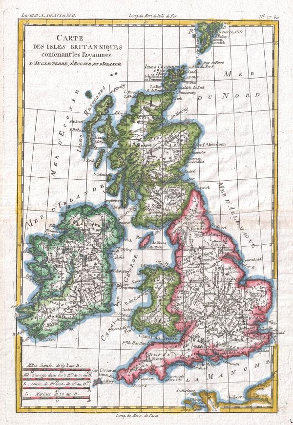 Carte Des Isles Brittaniques Contenant Royaumes D'Angleterre, D'Ecosse, Et D'Irlande.