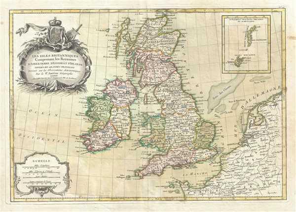 Les Isles Britanniques Comprenant les Royaumes D'Angleterre, D'Ecosse et D'Irlande divisee en grands provinces.