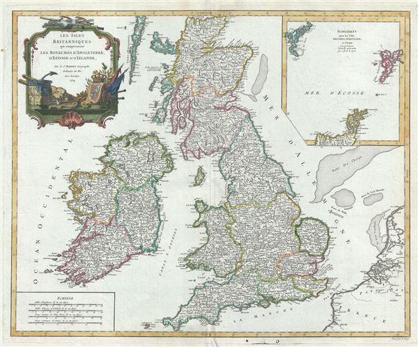 Les Isles Britanniques qui comprennent les Royaumes d'Angleterre, d'Ecosse et d'Irlande.